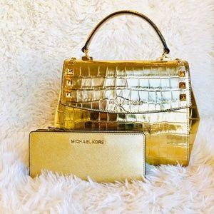 NWT: 2 PCS MICHAEL KORS Gold Satchel + Wallet